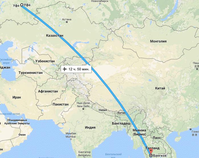 Сколько часов лететь до Таиланда из Уфы