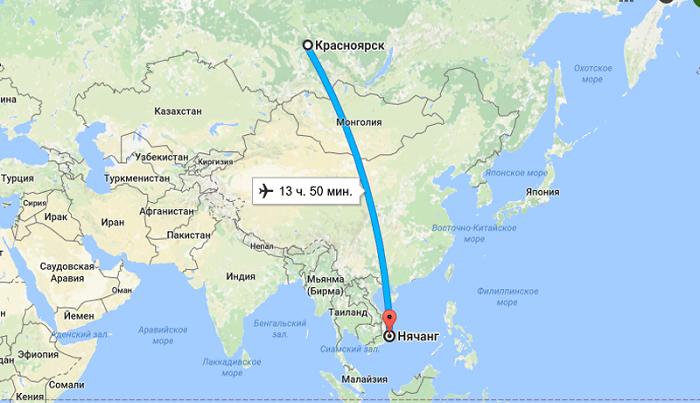 Время полета Красноярск-Вьетнам (Нячанг)
