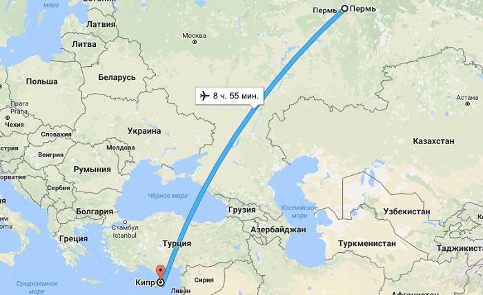 Сколько лететь из Перми до Кипра?
