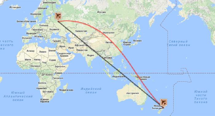Длительность перелета от Москвы до Новой Зеландии и стоимость авиабилетов