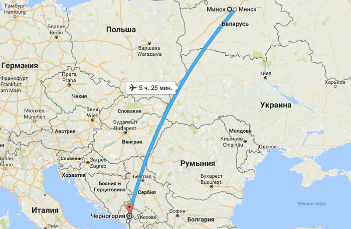 Длительность авиаперелета из Минска до Черногории