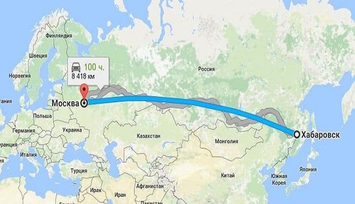 Расстояние и общая длительность перелёта в Хабаровск