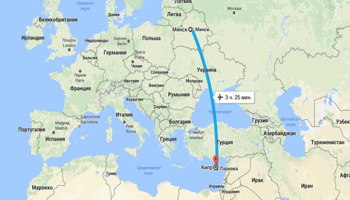 Время полета и стоимость авиабилетов по направлению Минск – Кипр