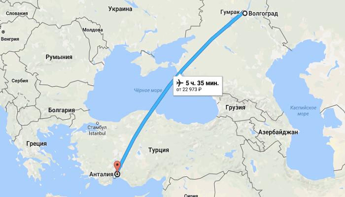 Время полета в Анталию из Волгограда