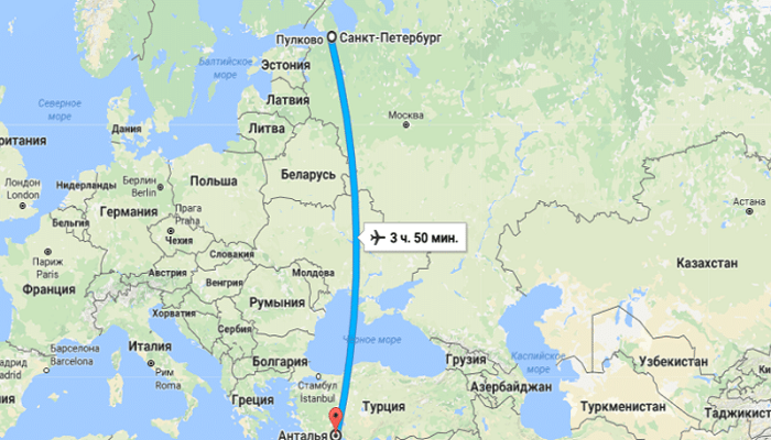 Время полета Санкт-Петербург – Анталия