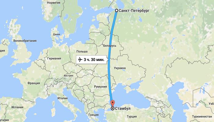 Сколько времени займёт перелёт из СПБ до Турции