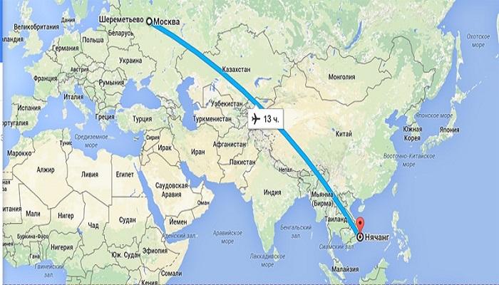 Сколько лететь до Нячанга из Москвы