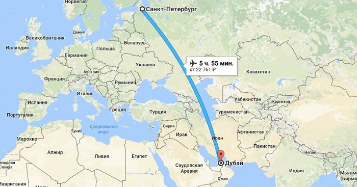 Сколько лететь до Дубая из Санкт-Петербурга