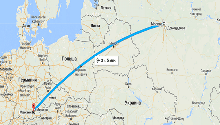 Время полета Москва – Мюнхен
