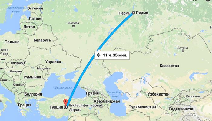 Время полета Пермь – Турция