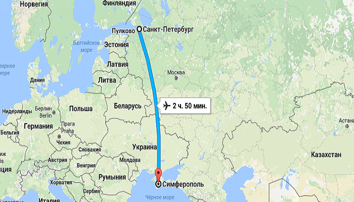 Время перелета в Крым из Санкт-Петербурга напрямую