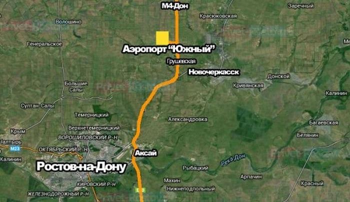 Новый аэропорт Ростова-на-Дону на карте