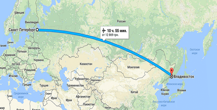 Сколько лететь до Владивостока из Санкт-Петербурга