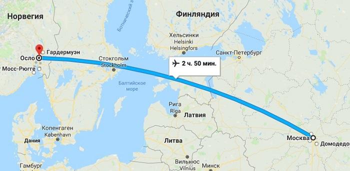 Сколько лететь до Норвегии из Москвы