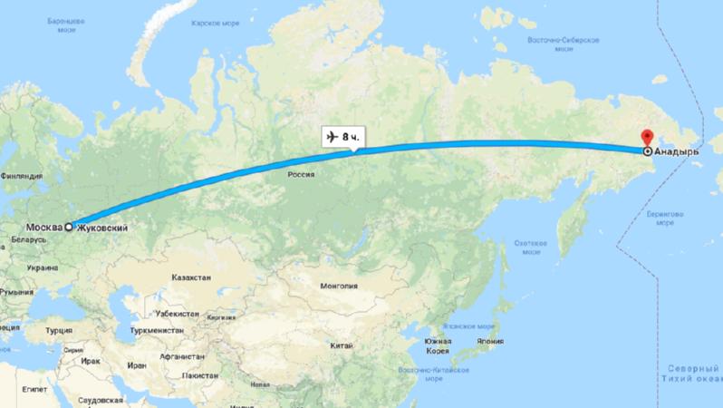 Время полета Москва - Анадырь
