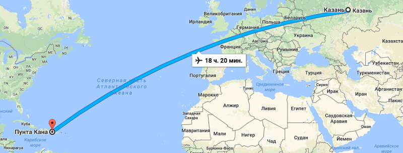 Сколько лететь до Доминиканы из Казани