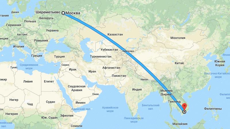 Сколько лететь до Хошимина из Москвы