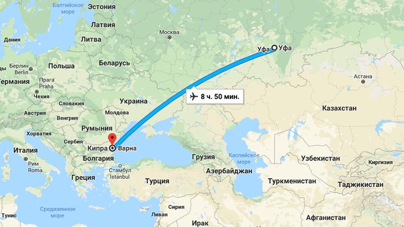 Сколько лететь до Кипра из Уфы