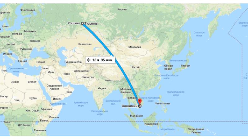 Сколько лететь из Тюмени в Хошимин