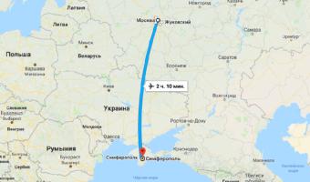 Время полета Москва — Симферополь