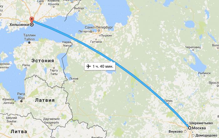 Время полета Москва - Хельсинки