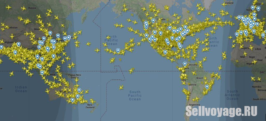 Как самолеты летают над тихим океаном. Скриншот с сайта Флайтрадар
