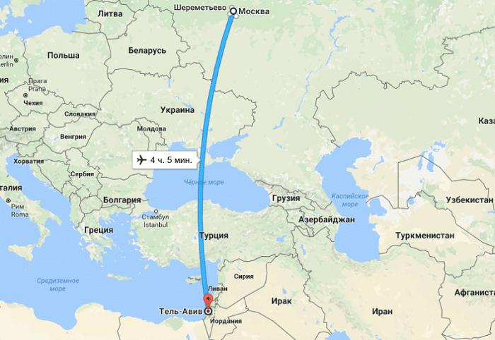 Перелет от Москвы до Израиля и его стоимость