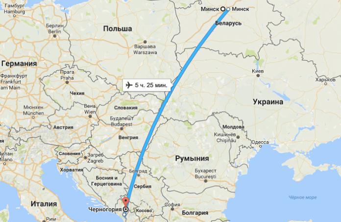 Черногория время полета