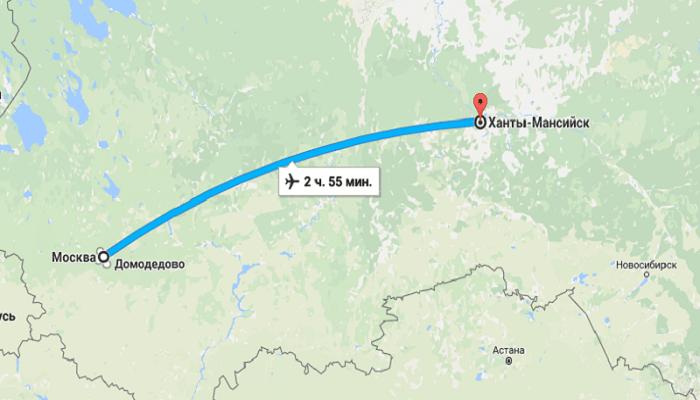 Время полета Москва — Ханты-Мансийск