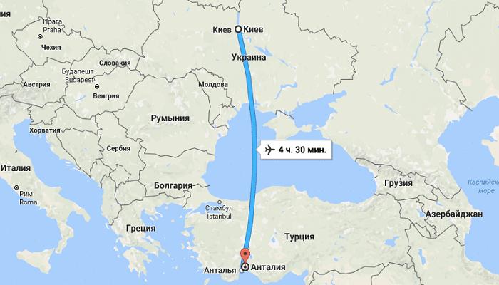 Время перелета Киев - Анталия