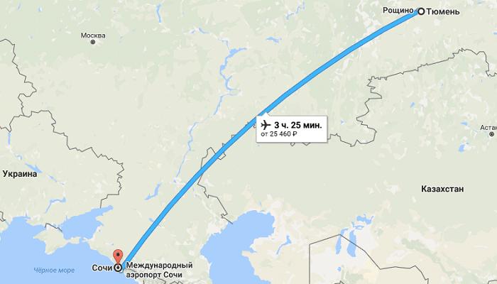 Сколько занимает время перелета Тюмень – Сочи