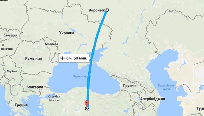 Время полета Воронеж – Турция без пересадок