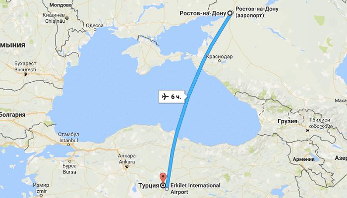 Сколько лететь в Турцию из Ростова-на-Дону