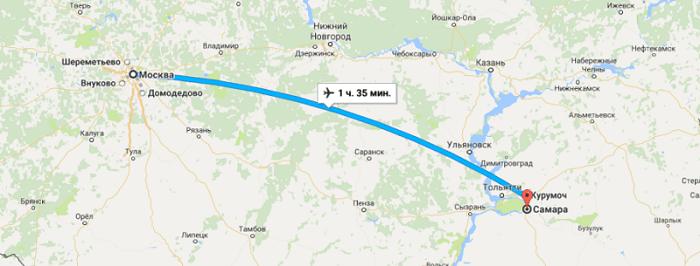 Время полета Москва – Самара