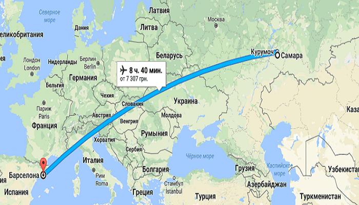 Авиаперелет казань -> испания - расстояние, маршрут и время перелета.