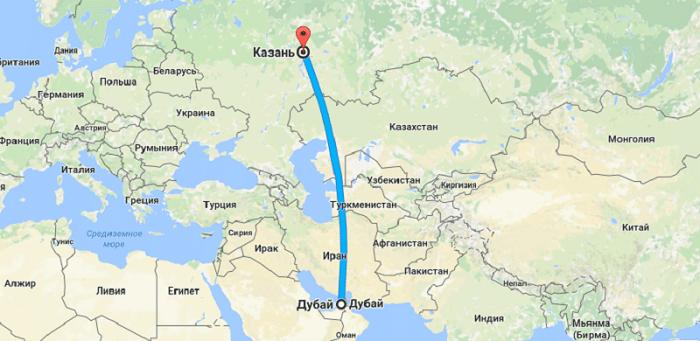 Сколько лететь до Дубая из Казани