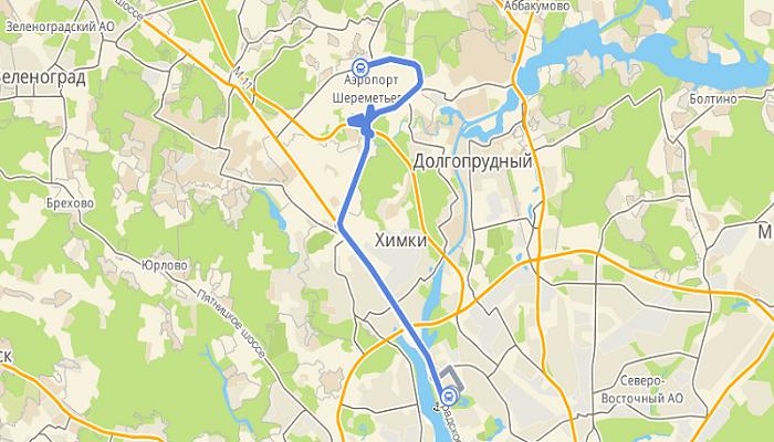 Расстояние между Речным вокзалом и Шереметьево