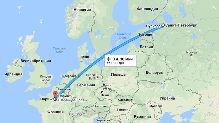 Сколько лететь до Парижа из Санкт-Петербурга