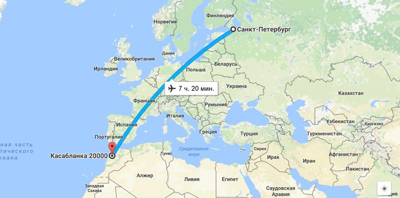 Прямой перелет Санкт-Петербург - Марокко