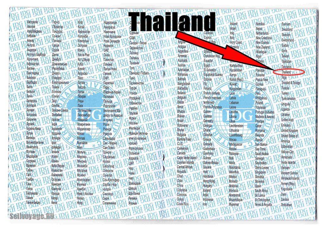 Надпись Таиланд в МВУ