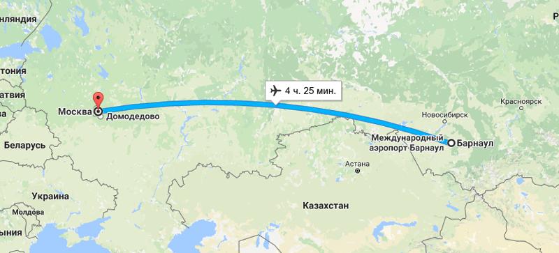 Прямые рейсы из Москвы в Барнаул