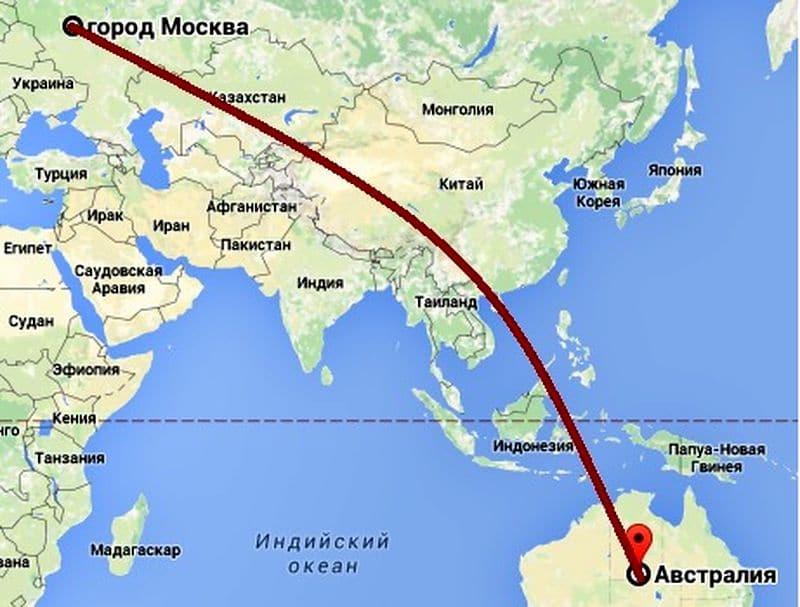 Сколько лететь до Австралии из Москвы прямым рейсом