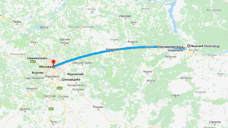 Сколько лететь из Москвы до Нижнего Новгорода