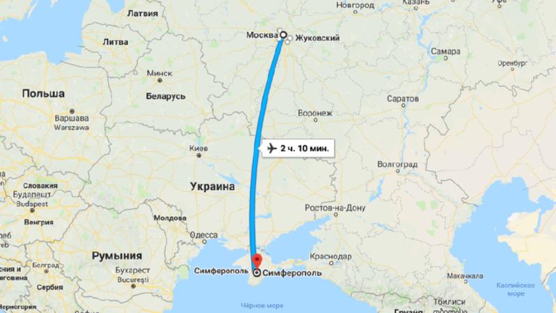 Сколько лететь из Москвы до Симферополя прямым рейсом